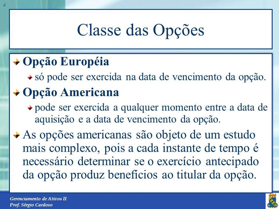 Classe das Opções Opção Européia Opção Americana