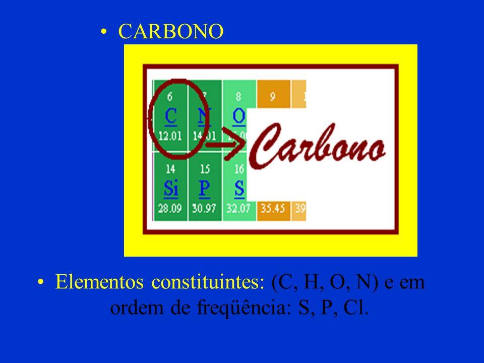 CARBONO Elementos constituintes: (C, H, O, N) e em ordem de freqüência: S, P, Cl.
