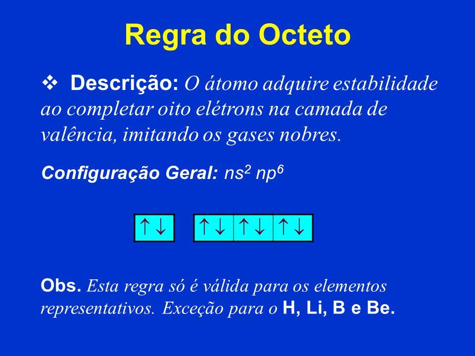 Regra do Octeto Descrição: O átomo adquire estabilidade ao completar oito elétrons na camada de valência, imitando os gases nobres.