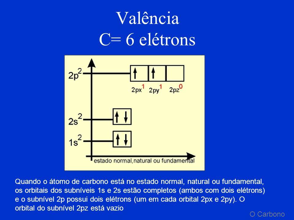 Valência C= 6 elétrons
