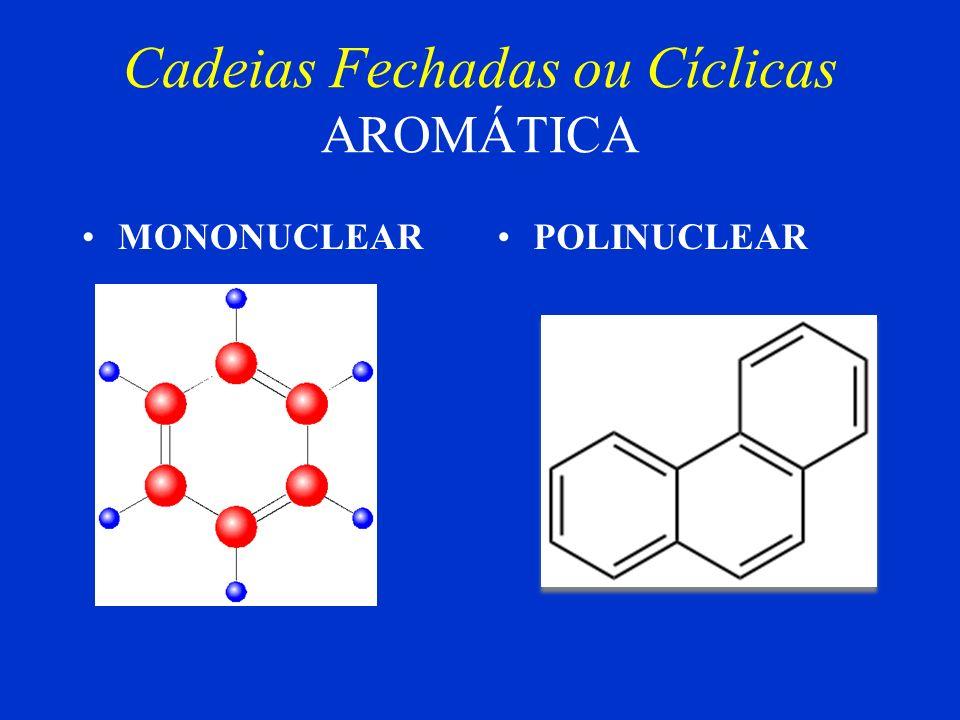 Cadeias Fechadas ou Cíclicas AROMÁTICA