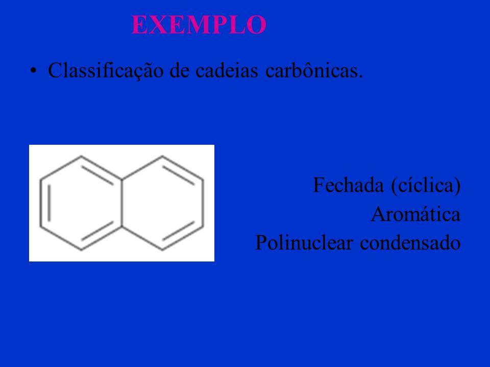 EXEMPLO Classificação de cadeias carbônicas. Fechada (cíclica)