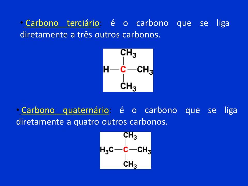 Carbono terciário: é o carbono que se liga diretamente a três outros carbonos.
