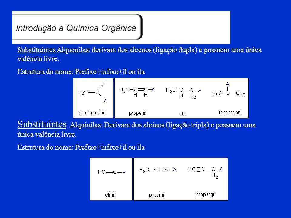 Substituintes Alquenilas: derivam dos alcenos (ligação dupla) e possuem uma única valência livre.