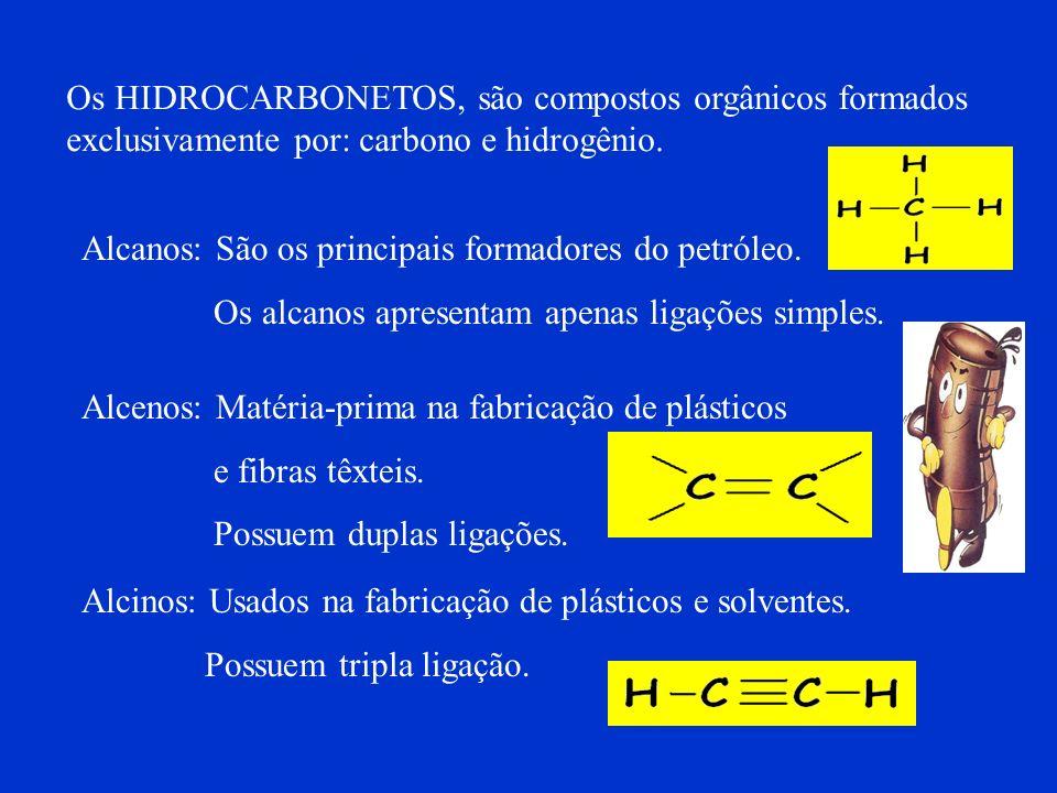 Os HIDROCARBONETOS, são compostos orgânicos formados exclusivamente por: carbono e hidrogênio.