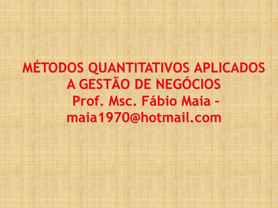 MÉTODOS QUANTITATIVOS APLICADOS A GESTÃO DE NEGÓCIOS Prof. Msc
