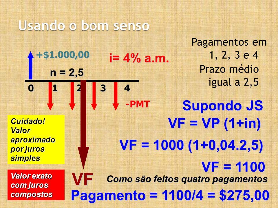 VF Usando o bom senso Supondo JS VF = VP (1+in) VF = 1000 (1+0,04.2,5)