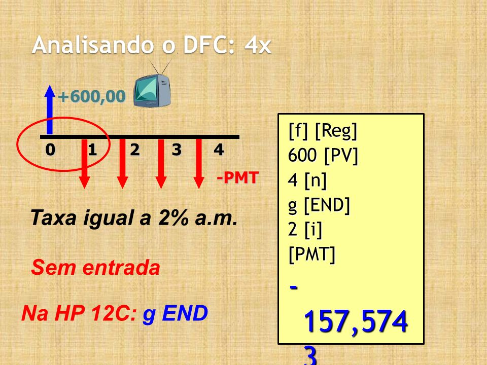 - 157,574 3 Analisando o DFC: 4x Taxa igual a 2% a.m. Sem entrada