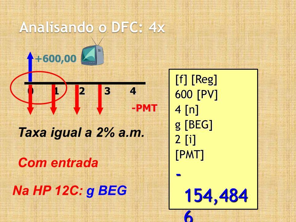 - 154,484 6 Analisando o DFC: 4x Taxa igual a 2% a.m. Com entrada