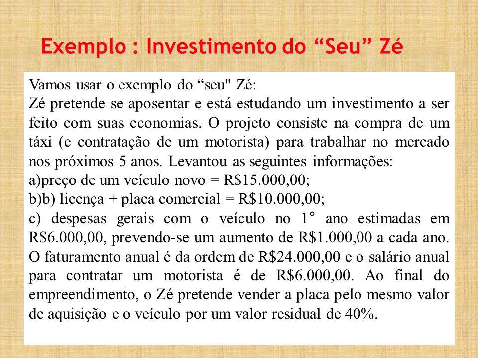 Exemplo : Investimento do Seu Zé