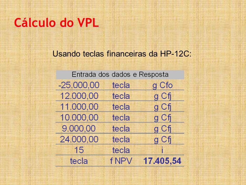 Usando teclas financeiras da HP-12C: