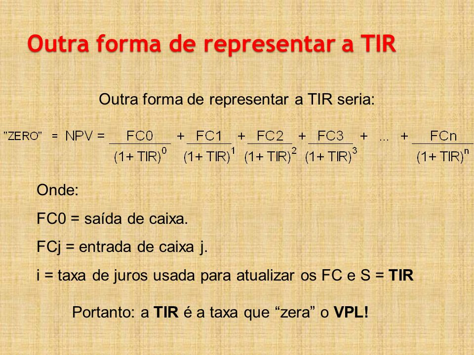 Outra forma de representar a TIR