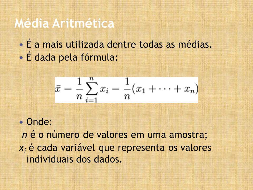 Média Aritmética É a mais utilizada dentre todas as médias.