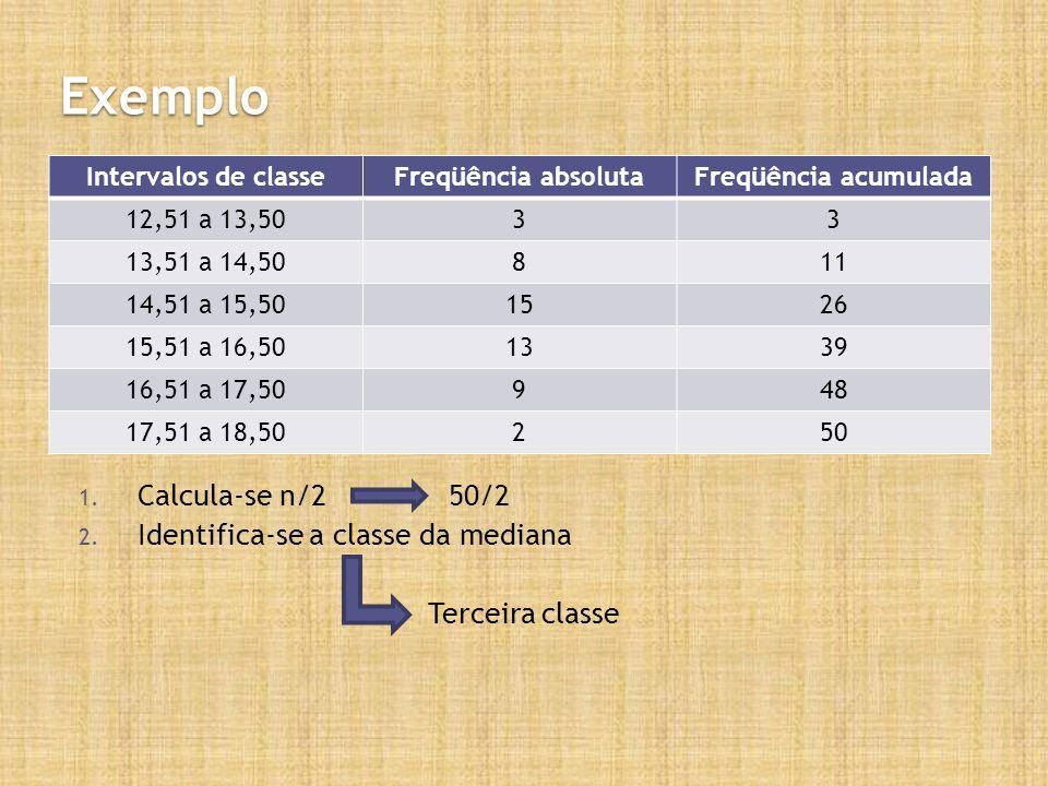 Exemplo Calcula-se n/2 50/2 Identifica-se a classe da mediana