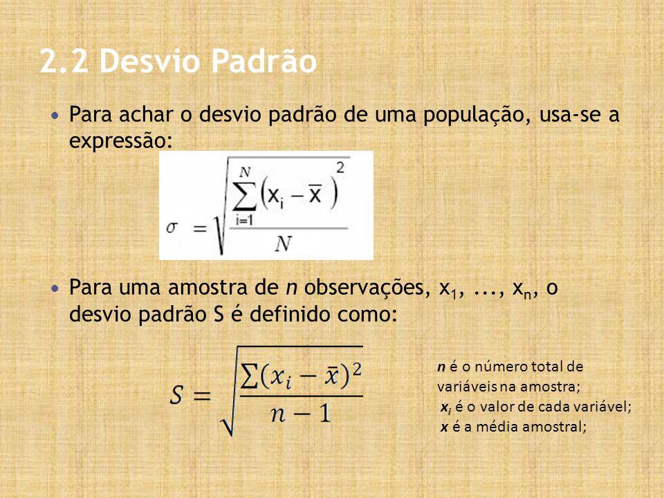 2.2 Desvio Padrão Para achar o desvio padrão de uma população, usa-se a expressão: