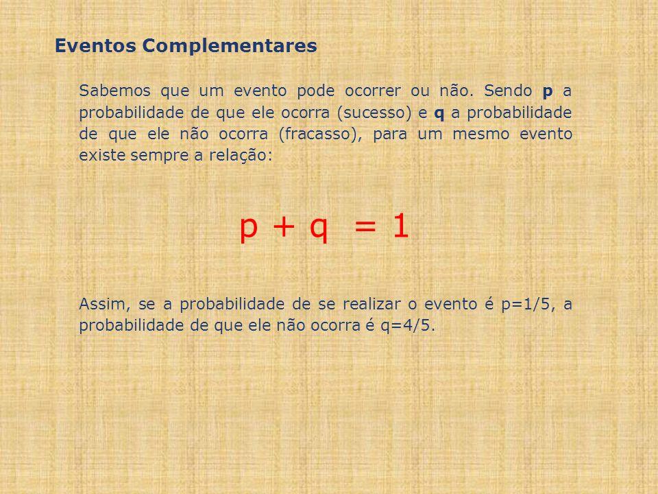 p + q = 1 Eventos Complementares