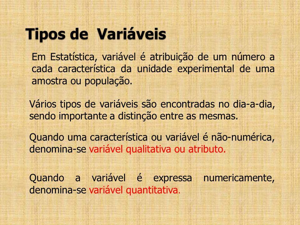Tipos de Variáveis Em Estatística, variável é atribuição de um número a cada característica da unidade experimental de uma amostra ou população.