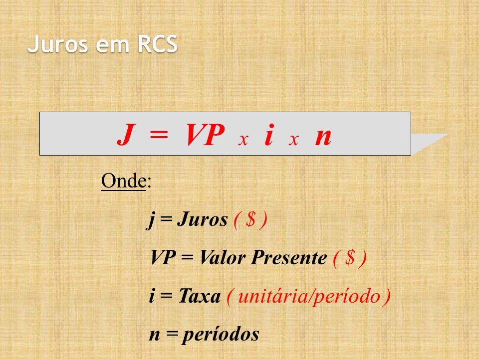 J = VP x i x n Juros em RCS Onde: j = Juros ( $ )