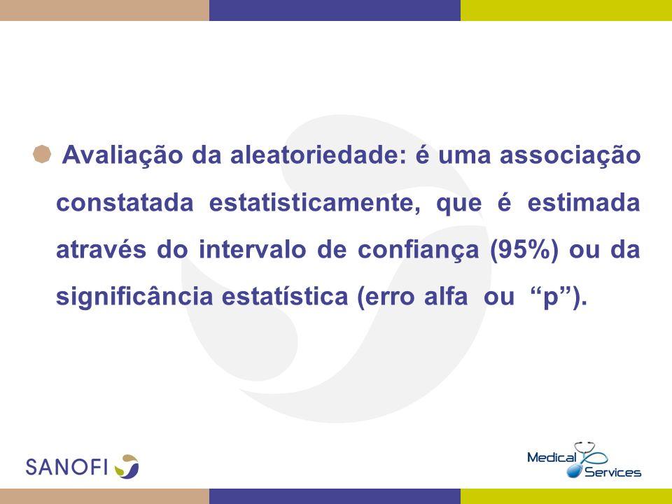Avaliação da aleatoriedade: é uma associação constatada estatisticamente, que é estimada através do intervalo de confiança (95%) ou da significância estatística (erro alfa ou p ).