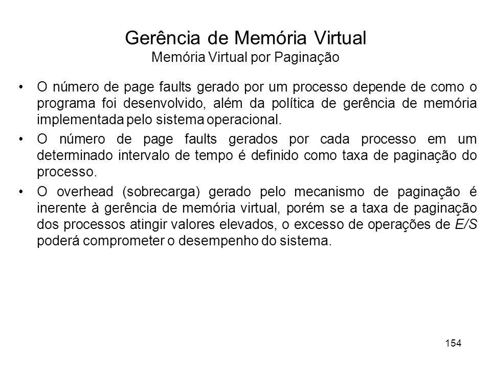 Gerência de Memória Virtual Memória Virtual por Paginação