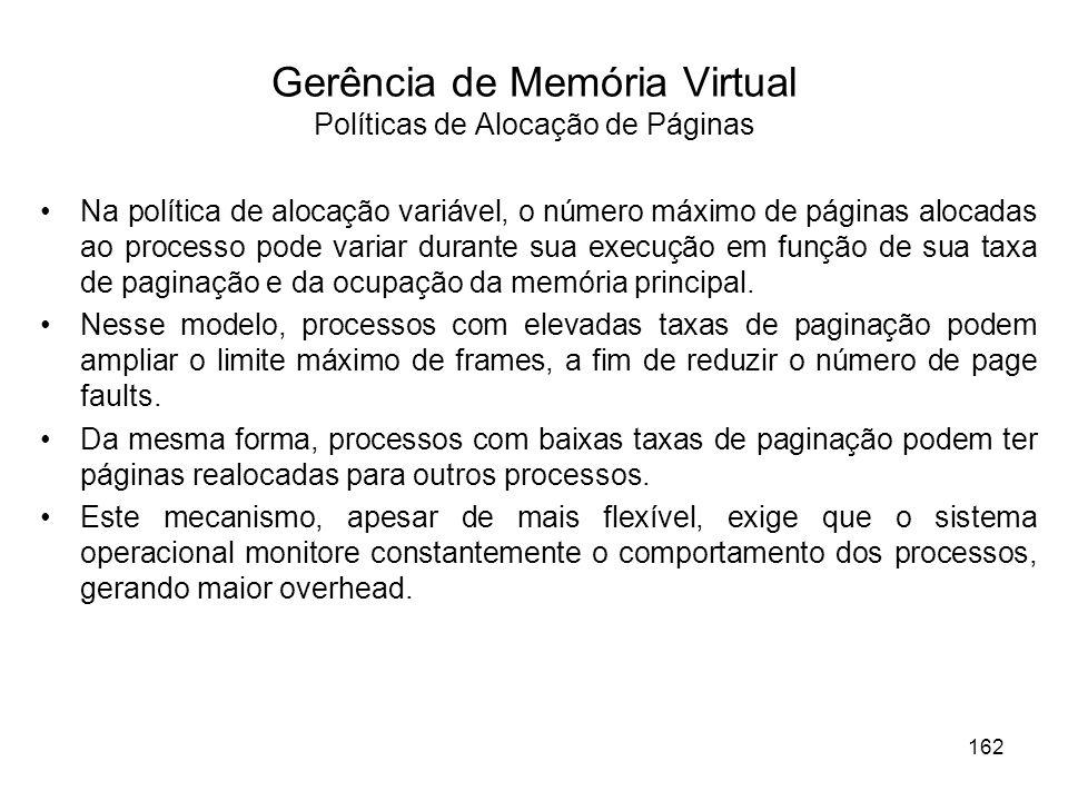 Gerência de Memória Virtual Políticas de Alocação de Páginas