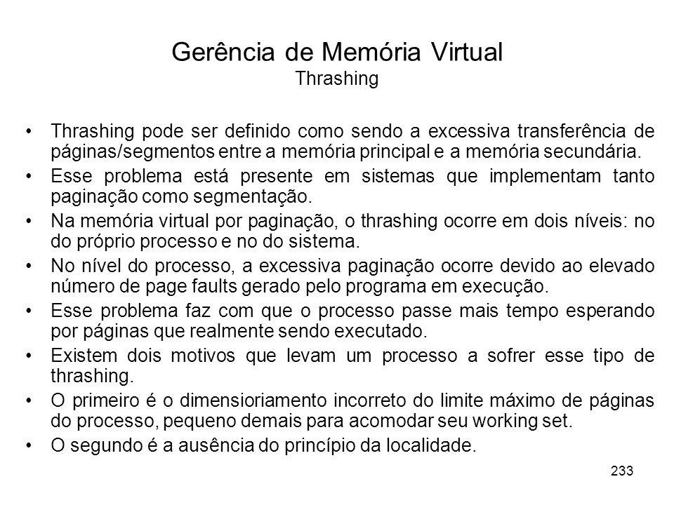 Gerência de Memória Virtual Thrashing