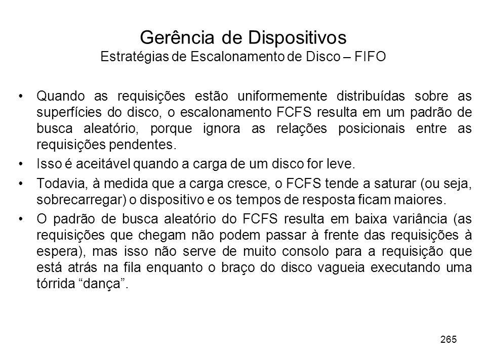 Gerência de Dispositivos Estratégias de Escalonamento de Disco – FIFO