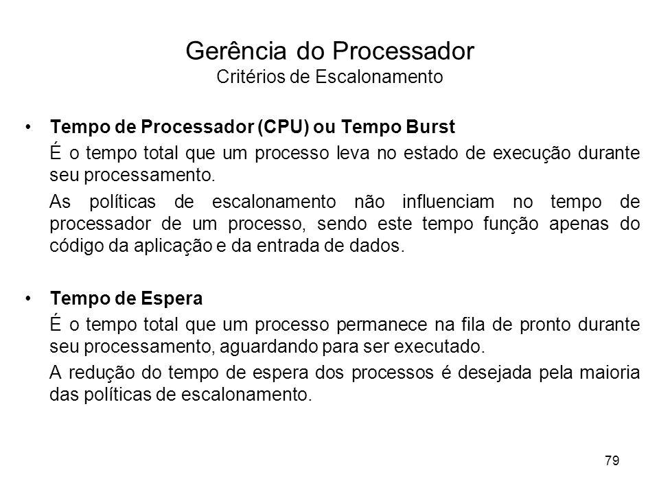 Gerência do Processador Critérios de Escalonamento
