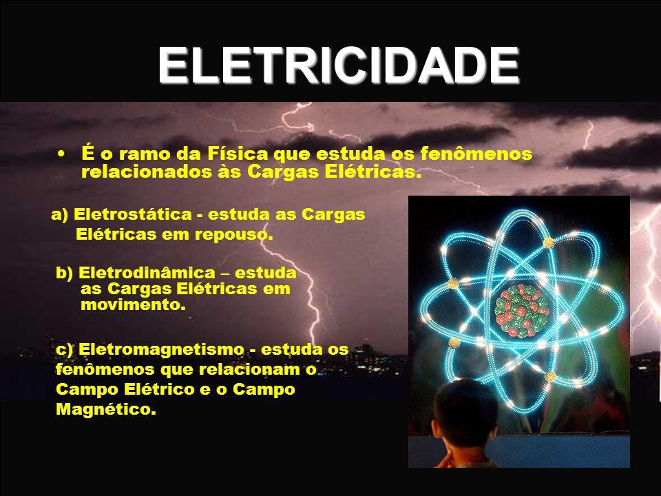 ELETRICIDADE É o ramo da Física que estuda os fenômenos relacionados às Cargas Elétricas. a) Eletrostática - estuda as Cargas Elétricas em repouso.