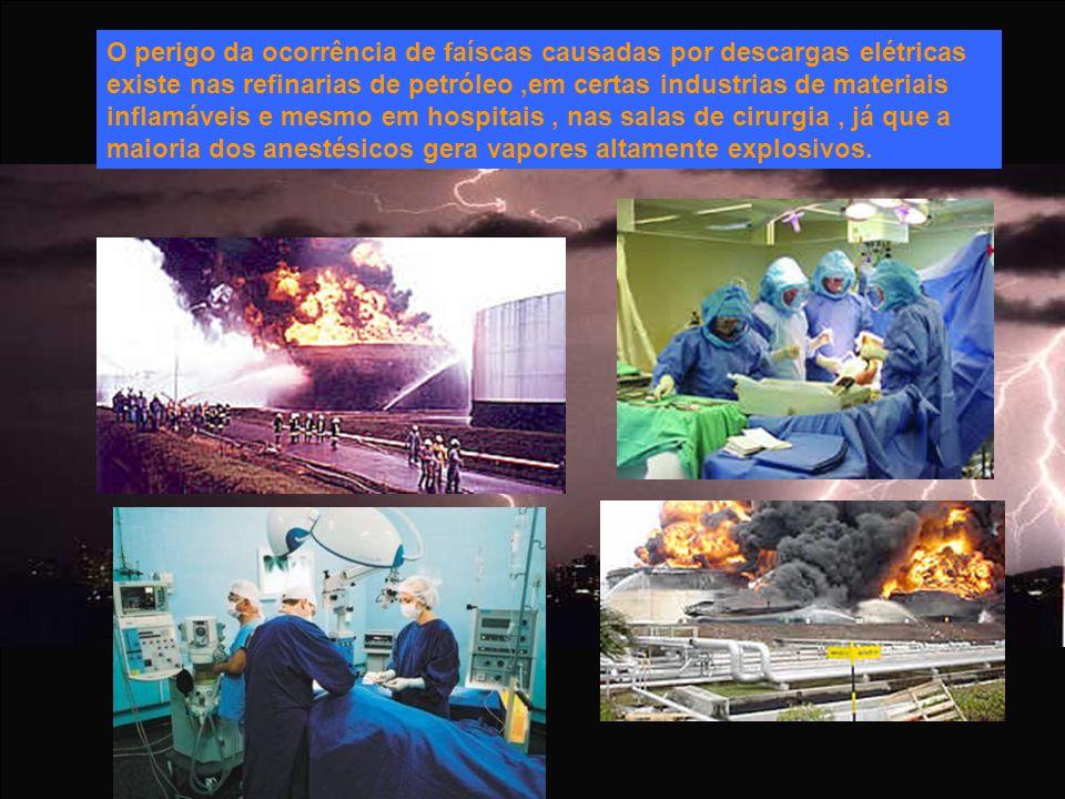 O perigo da ocorrência de faíscas causadas por descargas elétricas existe nas refinarias de petróleo ,em certas industrias de materiais inflamáveis e mesmo em hospitais , nas salas de cirurgia , já que a maioria dos anestésicos gera vapores altamente explosivos.
