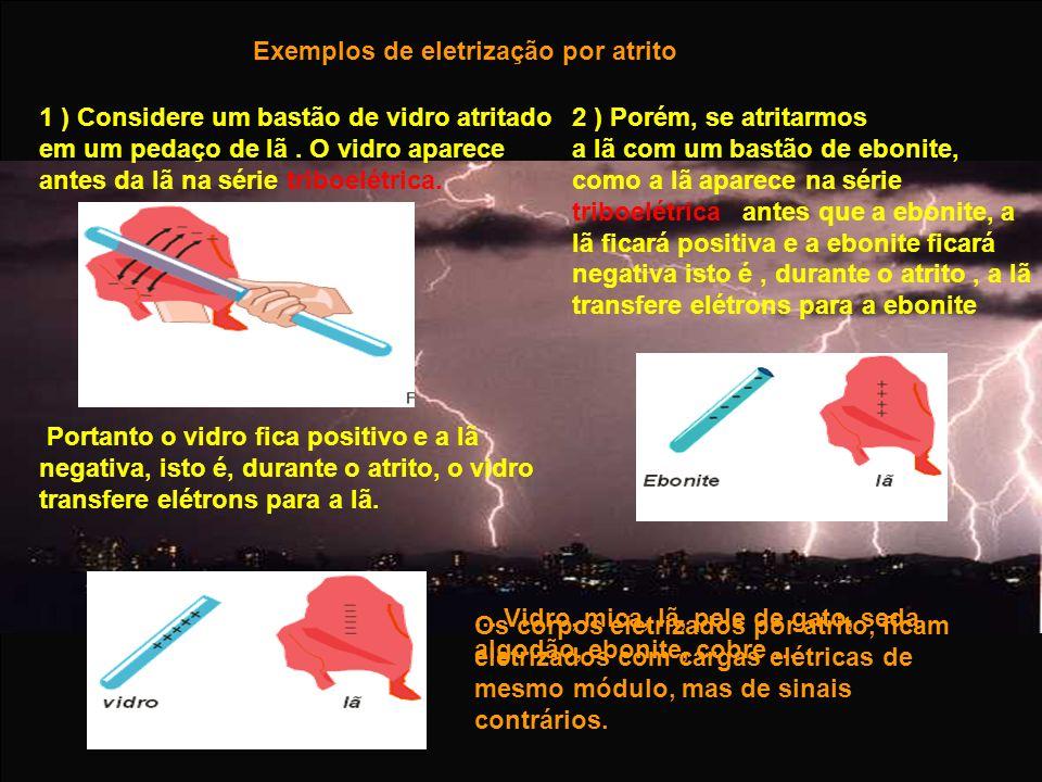 Exemplos de eletrização por atrito