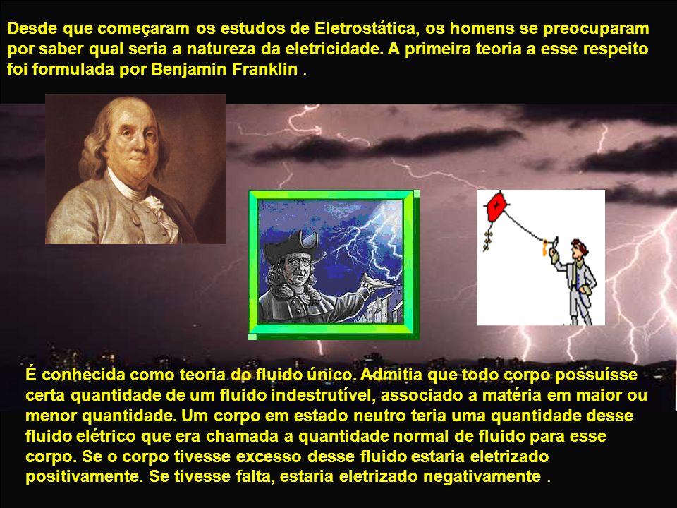 Desde que começaram os estudos de Eletrostática, os homens se preocuparam por saber qual seria a natureza da eletricidade. A primeira teoria a esse respeito foi formulada por Benjamin Franklin .