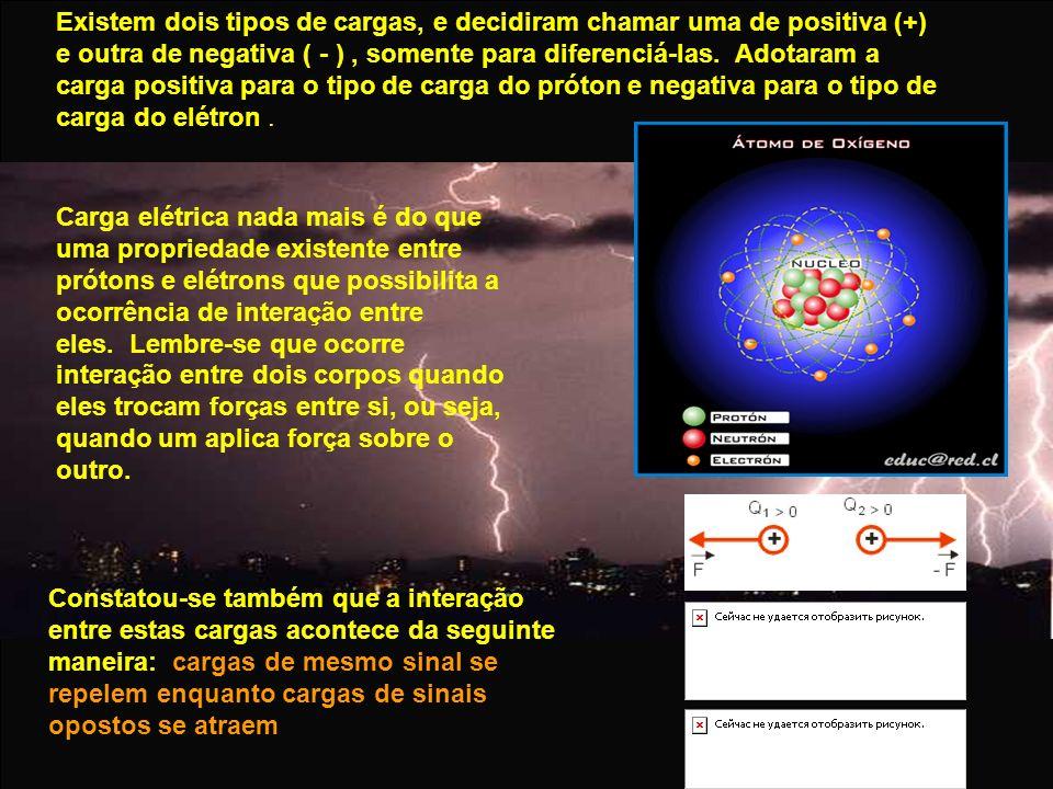 Existem dois tipos de cargas, e decidiram chamar uma de positiva (+) e outra de negativa ( - ) , somente para diferenciá-las. Adotaram a carga positiva para o tipo de carga do próton e negativa para o tipo de carga do elétron .