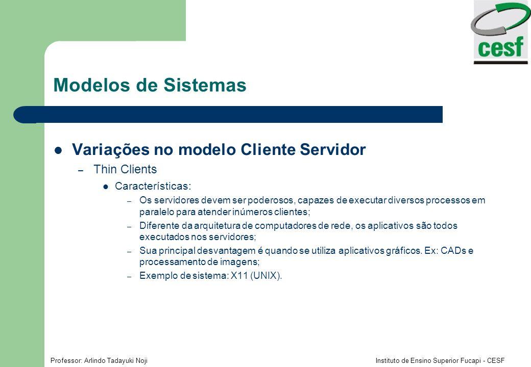 Modelos de Sistemas Variações no modelo Cliente Servidor Thin Clients