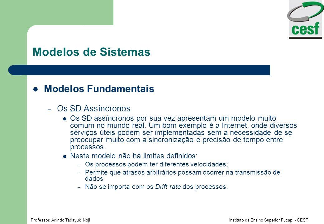 Modelos de Sistemas Modelos Fundamentais Os SD Assíncronos