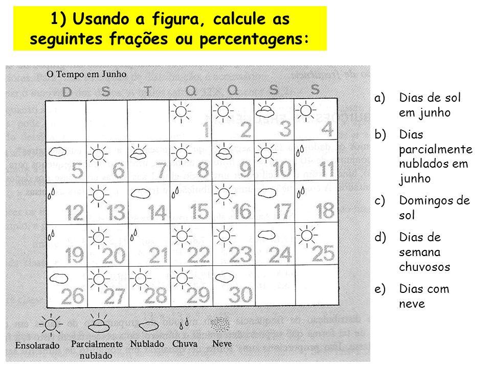 1) Usando a figura, calcule as seguintes frações ou percentagens: