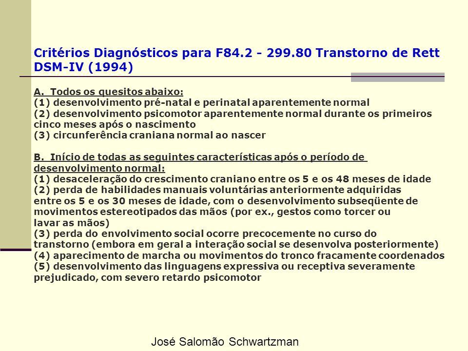 Critérios Diagnósticos para F84.2 - 299.80 Transtorno de Rett