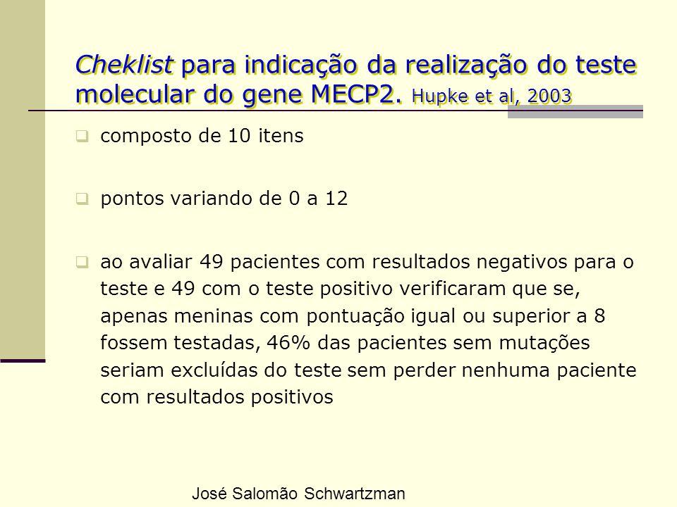 Cheklist para indicação da realização do teste molecular do gene MECP2