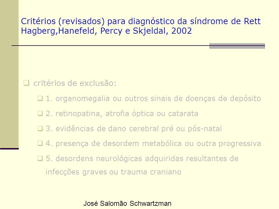 Critérios (revisados) para diagnóstico da síndrome de Rett Hagberg,Hanefeld, Percy e Skjeldal, 2002