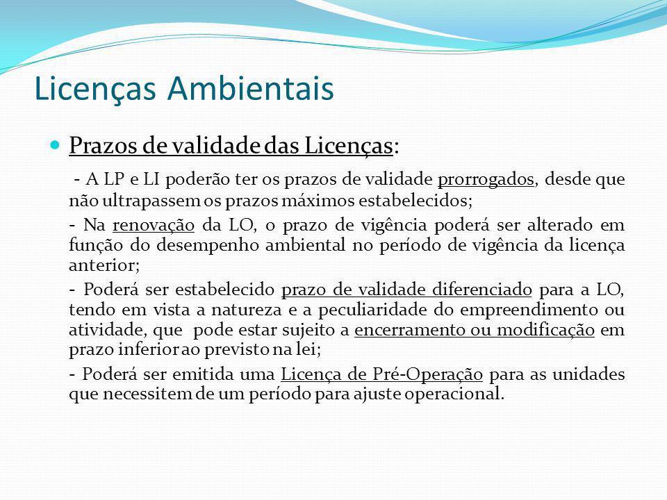 Licenças Ambientais Prazos de validade das Licenças: