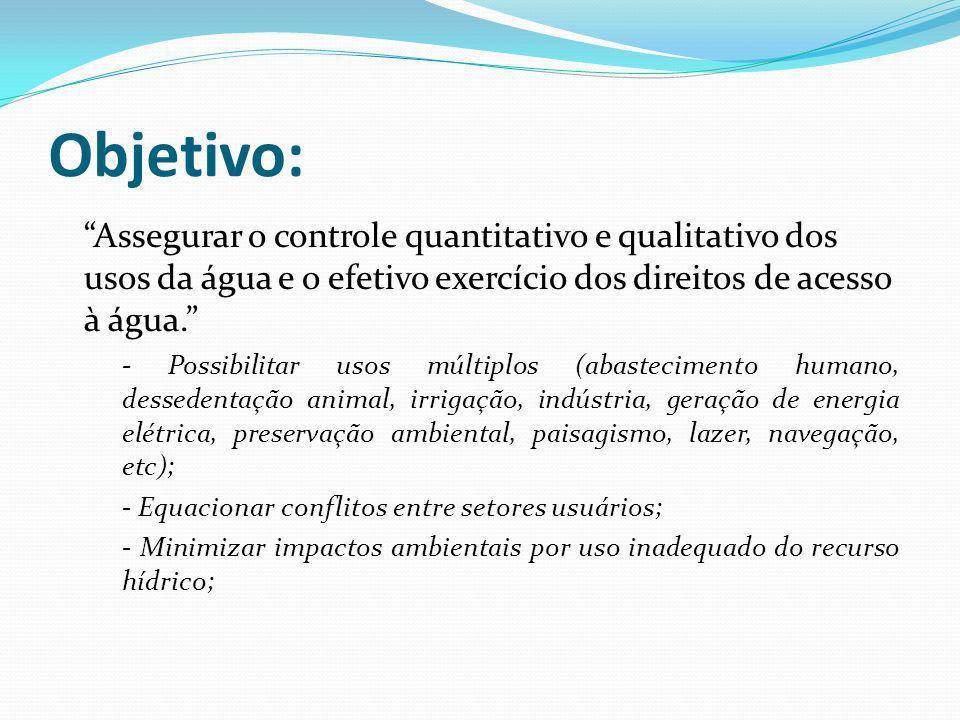 Objetivo: Assegurar o controle quantitativo e qualitativo dos usos da água e o efetivo exercício dos direitos de acesso à água.