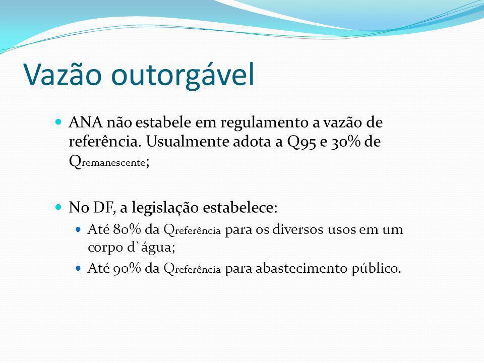 Vazão outorgável ANA não estabele em regulamento a vazão de referência. Usualmente adota a Q95 e 30% de Qremanescente;