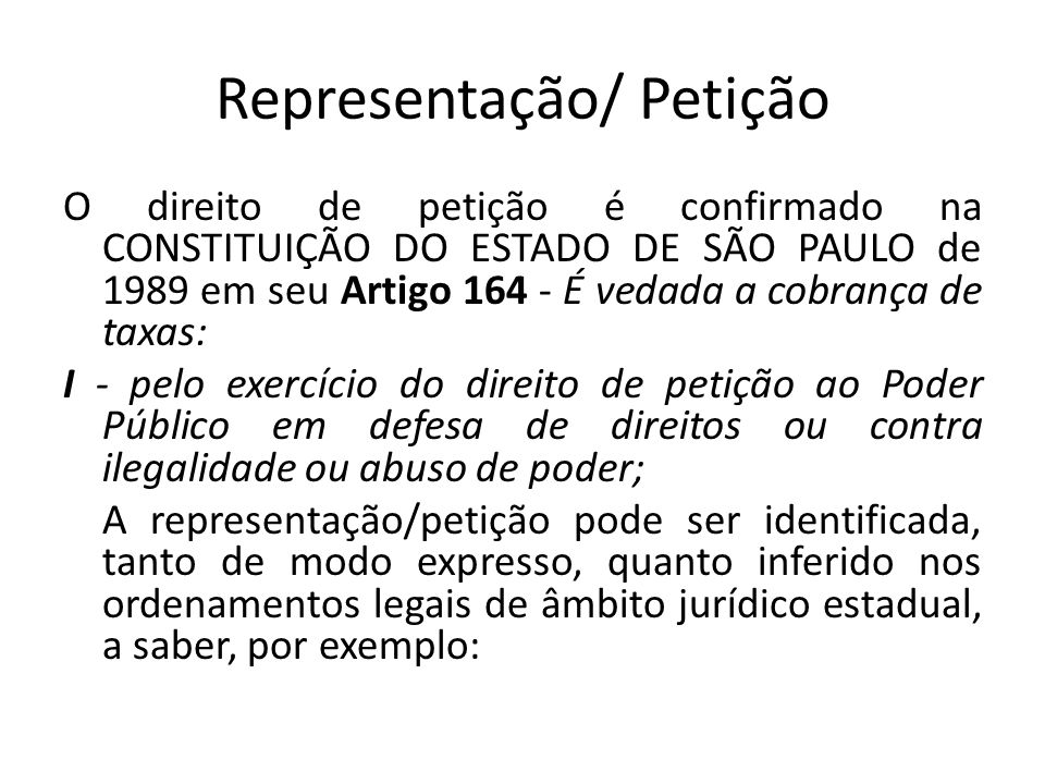 Representação/ Petição