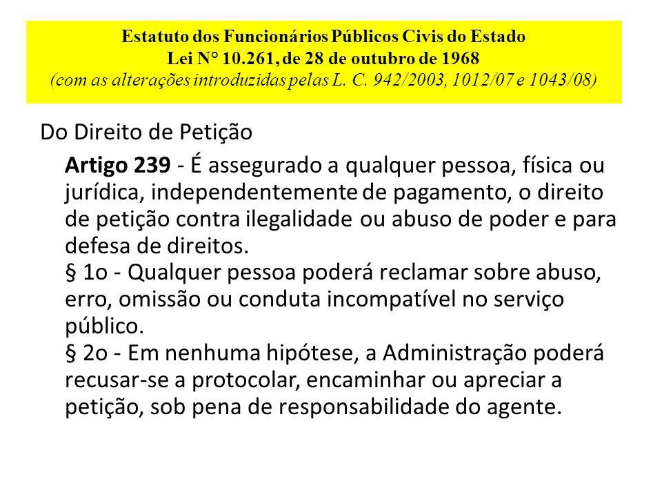 Estatuto dos Funcionários Públicos Civis do Estado Lei N° 10