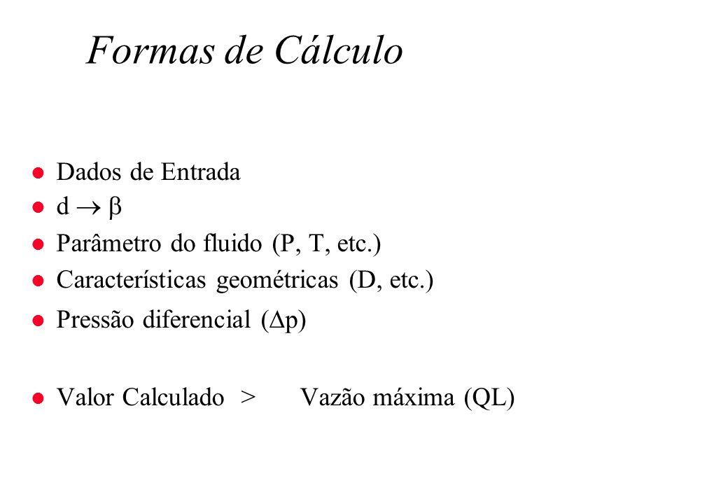 Formas de Cálculo Dados de Entrada d  