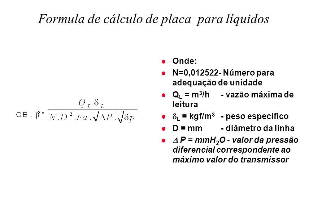 Formula de cálculo de placa para líquidos