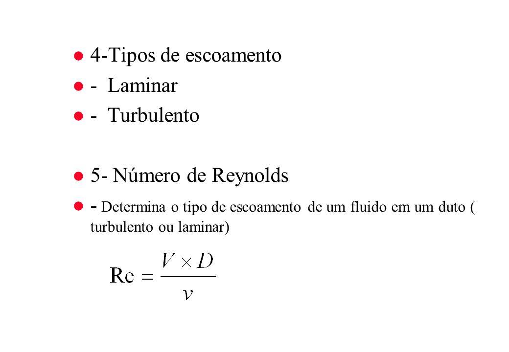 4-Tipos de escoamento - Laminar. - Turbulento. 5- Número de Reynolds.