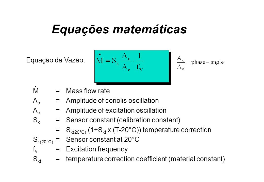 Equações matemáticas Equação da Vazão: M = Mass flow rate