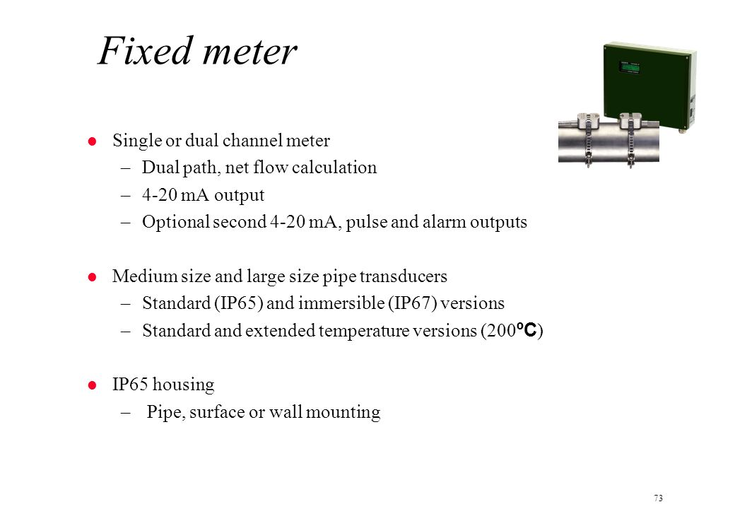 Fixed meter Single or dual channel meter