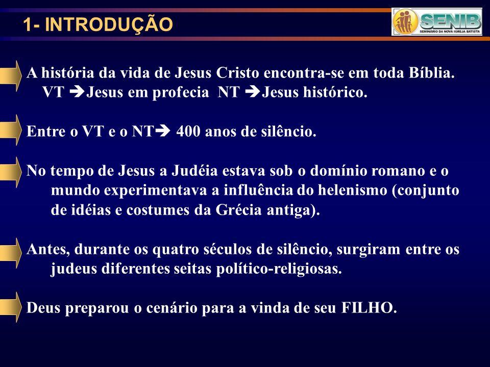 1- INTRODUÇÃO A história da vida de Jesus Cristo encontra-se em toda Bíblia. VT Jesus em profecia NT Jesus histórico.